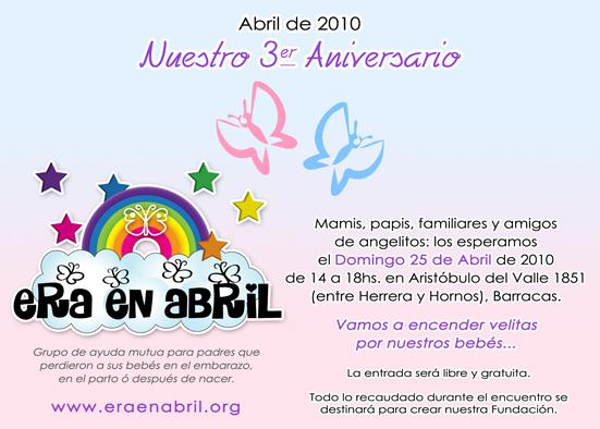 Invitación 3°Aniversario Era en Abril