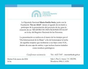 invitación a presentación proyecto Registro de Defunciones Fetales
